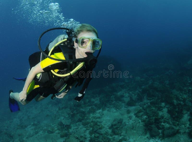 Retrato fêmea novo do mergulhador de mergulhador imagem de stock
