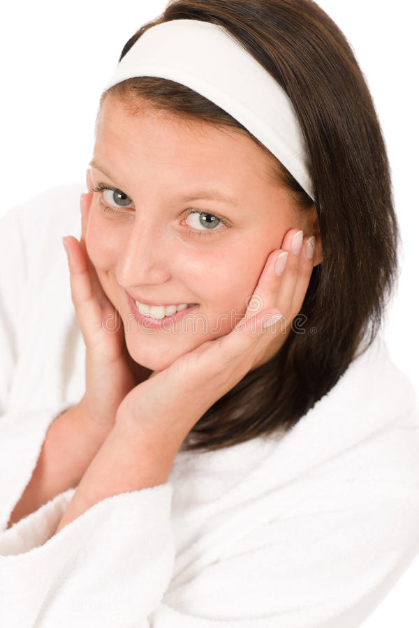 Retrato facial da face da menina do adolescente do cuidado fotografia de stock royalty free