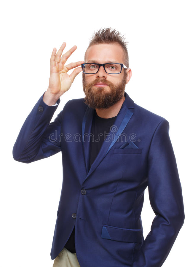 Retrato farpado novo do homem isolado no branco foto de stock