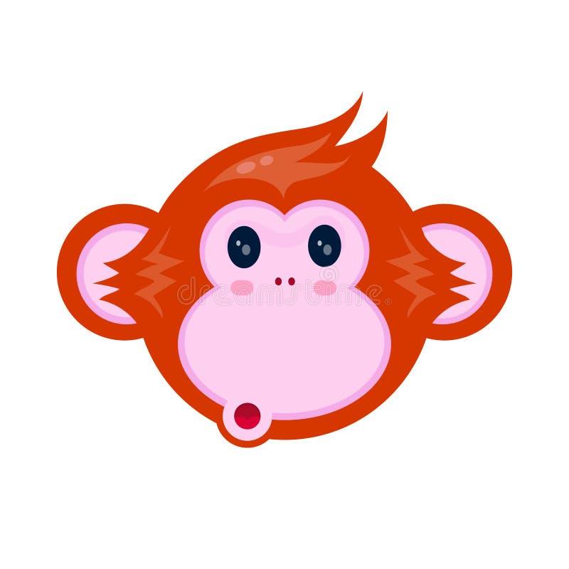 Retrato feliz bonito da cara da criança do macaco ilustração royalty free