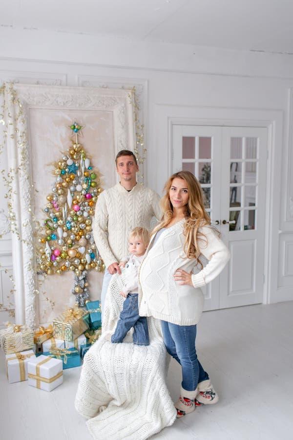 Retrato feliz da família na casa - gene, mãe grávida e seu filho pequeno Ano novo feliz Árvore de Natal decorada imagem de stock royalty free