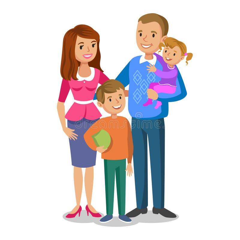 Retrato feliz de la familia, padres sonrientes y niños stock de ilustración