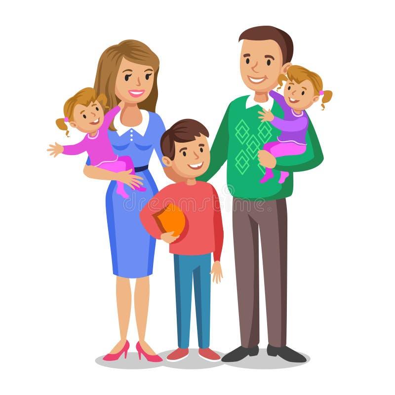 Retrato feliz de la familia, padres sonrientes y niños libre illustration