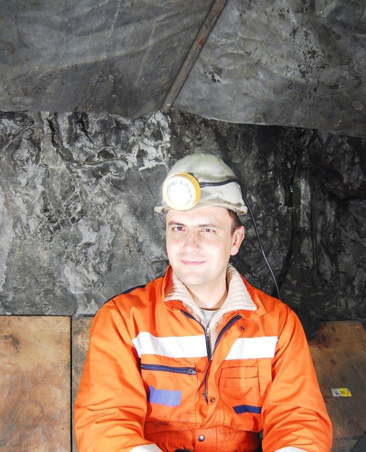 Retrato feliz del minero imágenes de archivo libres de regalías