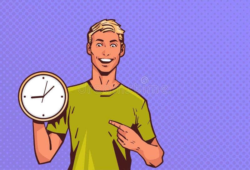 Retrato feliz masculino del personaje de dibujos animados del hombre del control del reloj del punto del finger del estilo retro  ilustración del vector