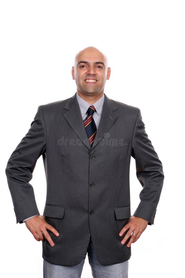 Retrato feliz novo do homem de negócios foto de stock royalty free