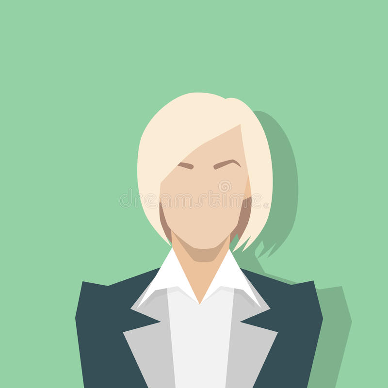 Retrato femenino del icono del perfil de la empresaria plano ilustración del vector