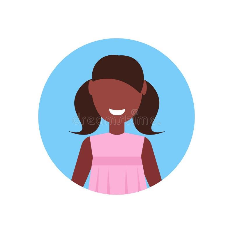 Retrato femenino del personaje de dibujos animados del niño de la niña del avatar afroamericano feliz de la cara aislado completa ilustración del vector