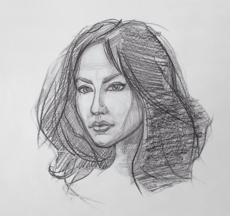 Retrato femenino - dibujo de lápiz stock de ilustración