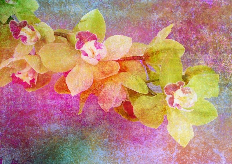Retrato floral estilizado do vintage ilustração stock