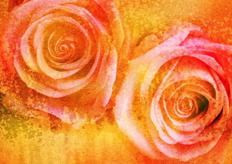 Retrato floral estilizado do vintage ilustração royalty free