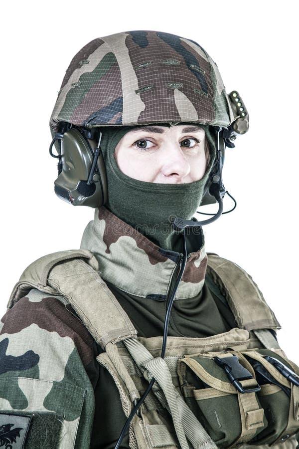 Retrato francés de la cara del paracaidista fotografía de archivo