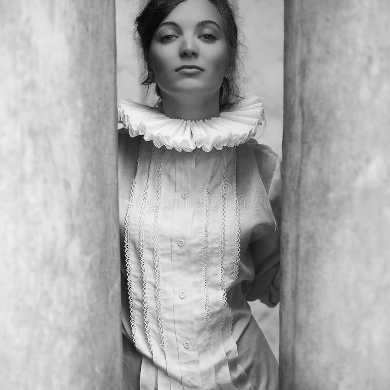 Retrato francés de la princesa del uno-la del vintage de una morenita hermosa imágenes de archivo libres de regalías