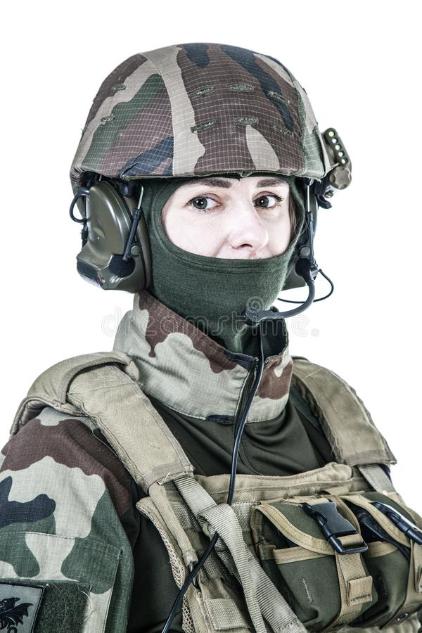 Retrato francês da cara do paramilitar fotografia de stock