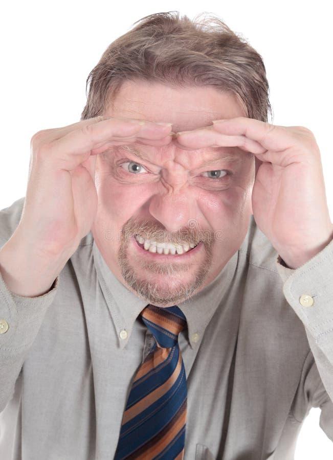 Retrato furioso do homem de negócios fotografia de stock