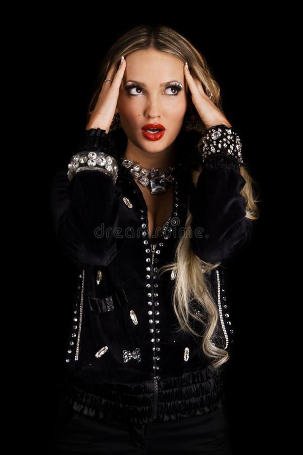Retrato glamoroso da face da senhora fotografia de stock