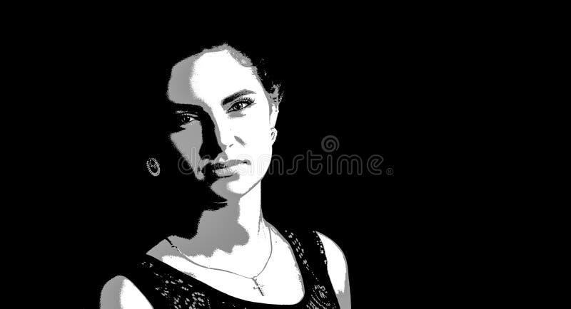 Retrato gráfico de una mujer hermosa joven stock de ilustración