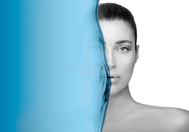 Retrato Greyscale da beleza de uma morena lindo Conceito do cuidado de pele fotografia de stock royalty free