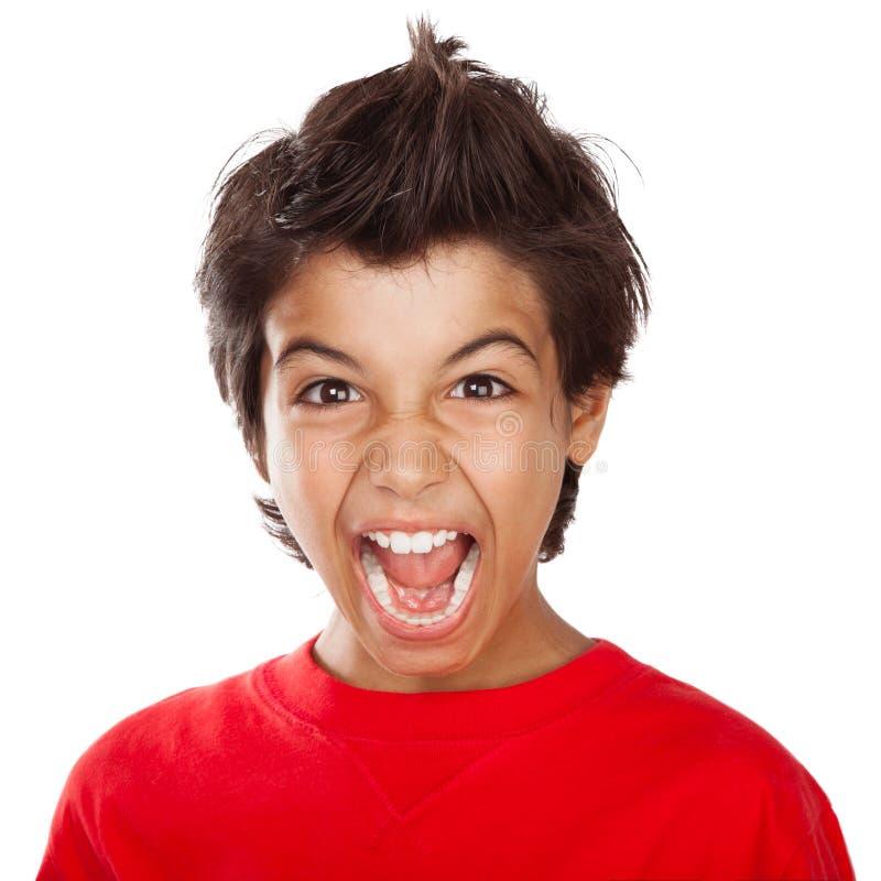 Retrato gritando do menino fotos de stock royalty free