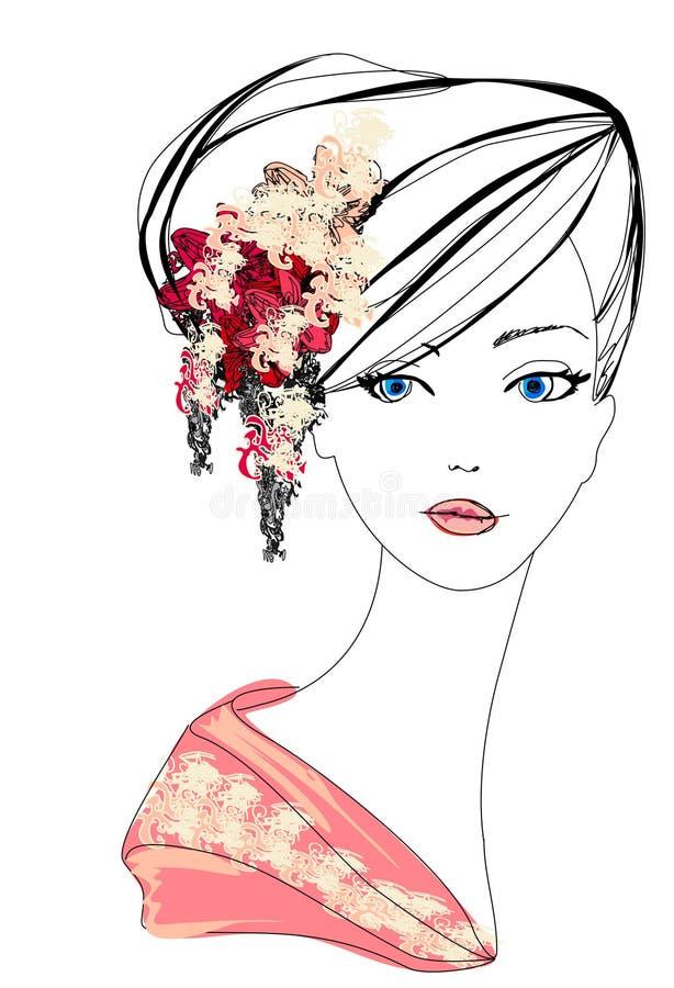 Retrato hermoso abstracto de la mujer ilustración del vector