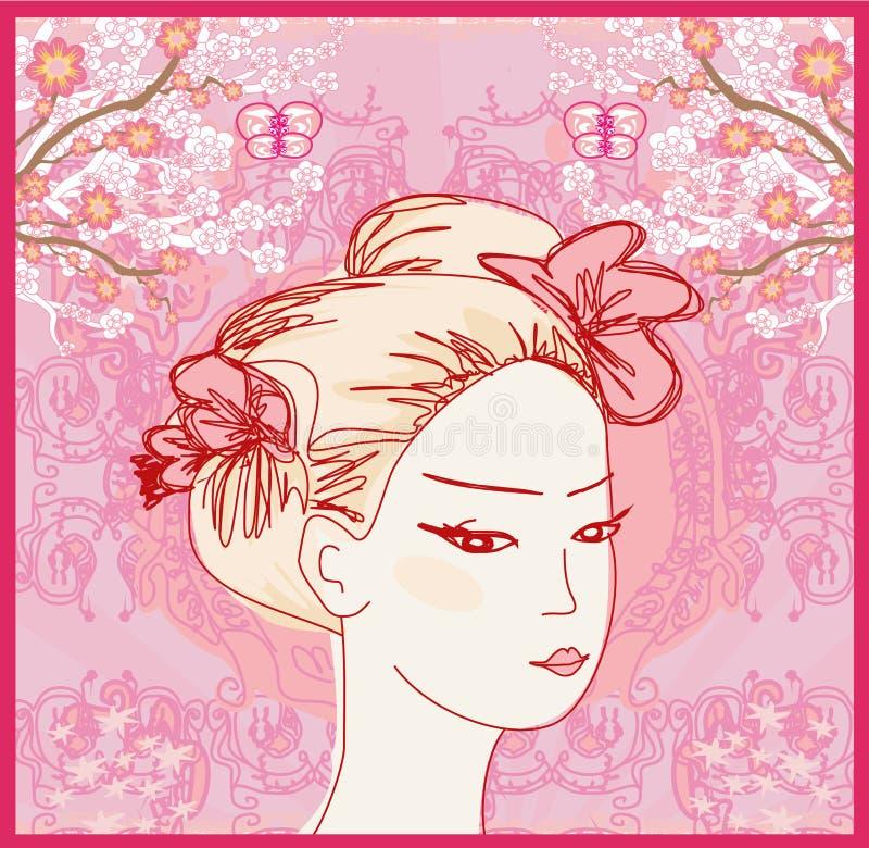 Retrato hermoso abstracto del garabato de la mujer libre illustration