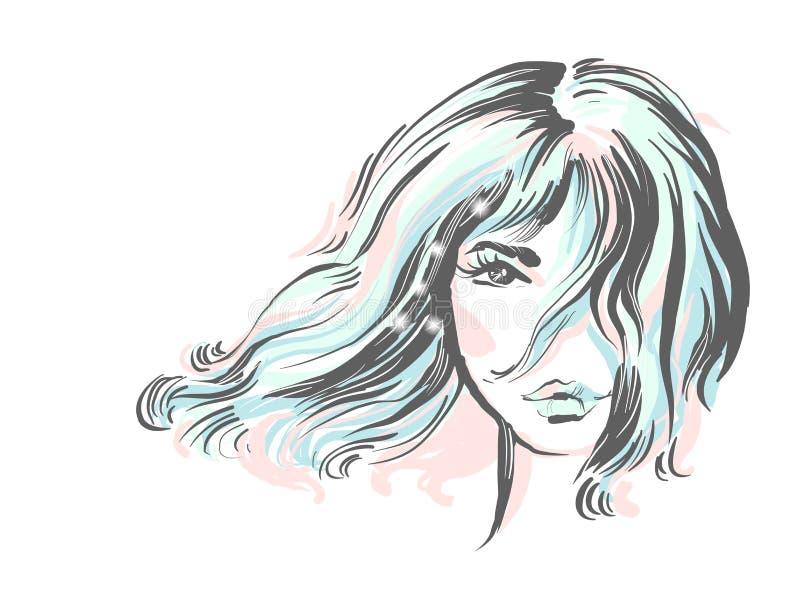 Retrato hermoso de la muchacha Peinado de Bob Vector Ejemplo coloreado blando de la moda con las chispas stock de ilustración