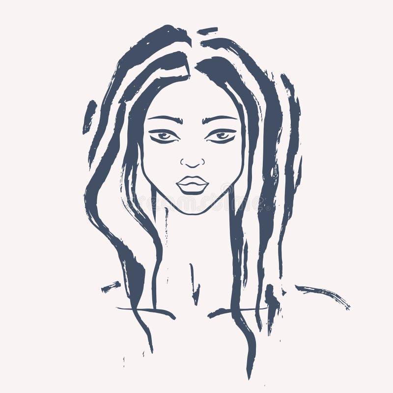 Retrato hermoso de la mujer ilustración del vector
