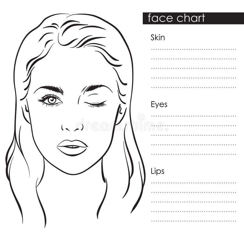 Retrato hermoso de la mujer Artista de maquillaje de la carta de la cara Blank Template Ilustración del vector stock de ilustración