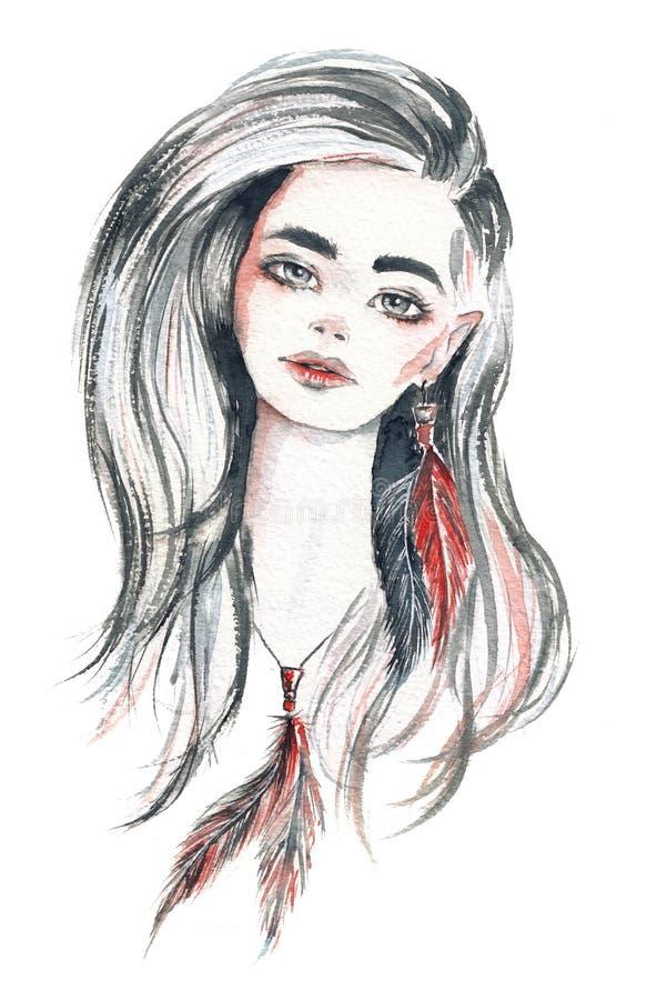 Retrato hermoso de la mujer con el pelo blanco y las plumas, estilo del boho ilustración del vector