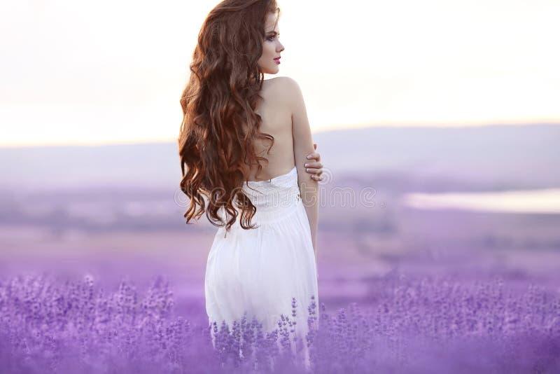 Retrato hermoso de la mujer joven en campo de la lavanda Bru atractivo imágenes de archivo libres de regalías