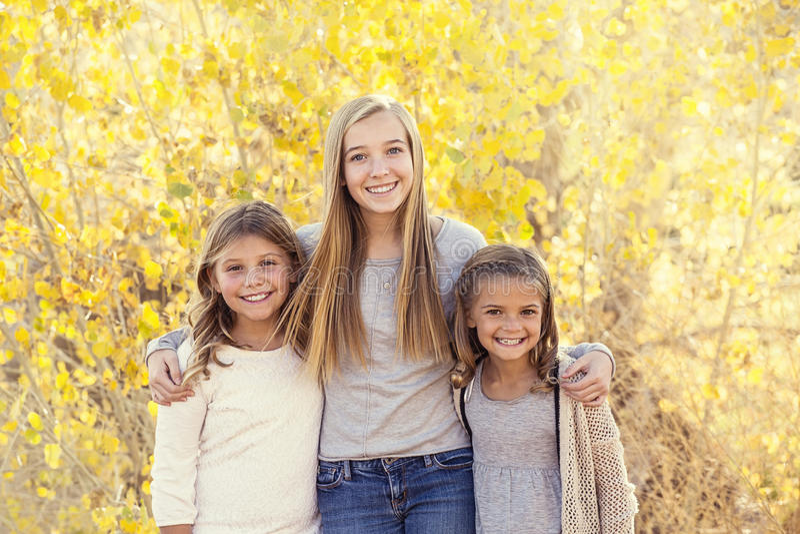 Retrato hermoso de niños felices sonrientes al aire libre fotografía de archivo libre de regalías