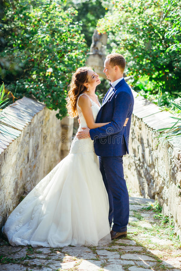 Retrato hermoso de novia y del novio en naturaleza fotos de archivo