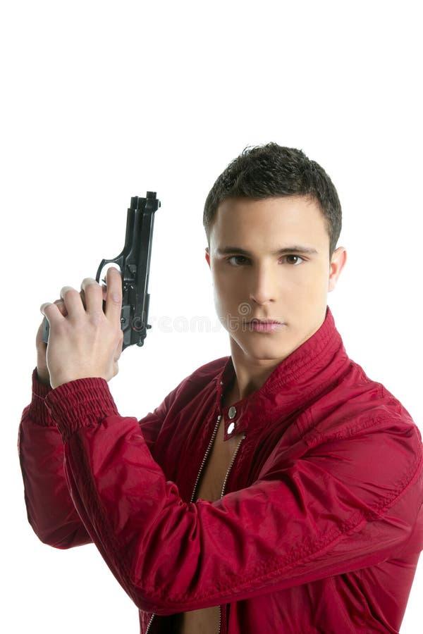 Retrato hermoso del agente privado con el arma imagen de archivo