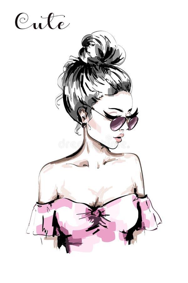 Retrato hermoso dibujado mano de la mujer joven Mujer de la manera en gafas de sol Muchacha linda del pelo rubio con el peinado e ilustración del vector