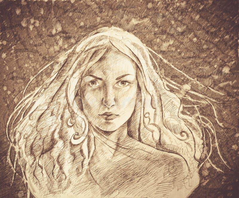 Retrato hermoso dibujado mano de la mujer joven Mujer de la manera Muchacha linda con las flores Pintura fotos de archivo