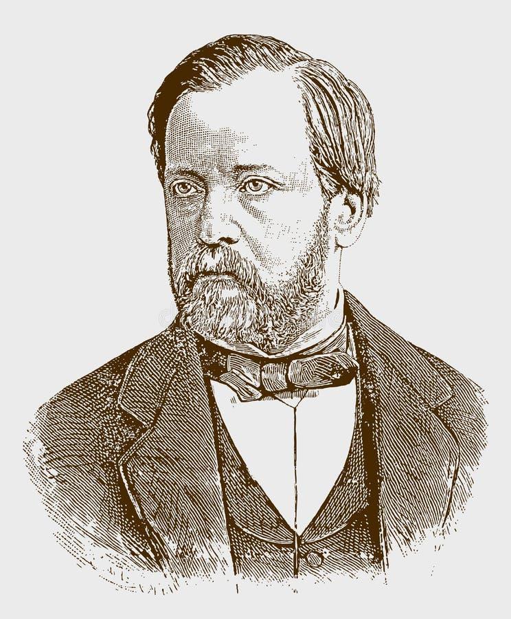 Retrato histórico de Louis Pasteur ilustración del vector
