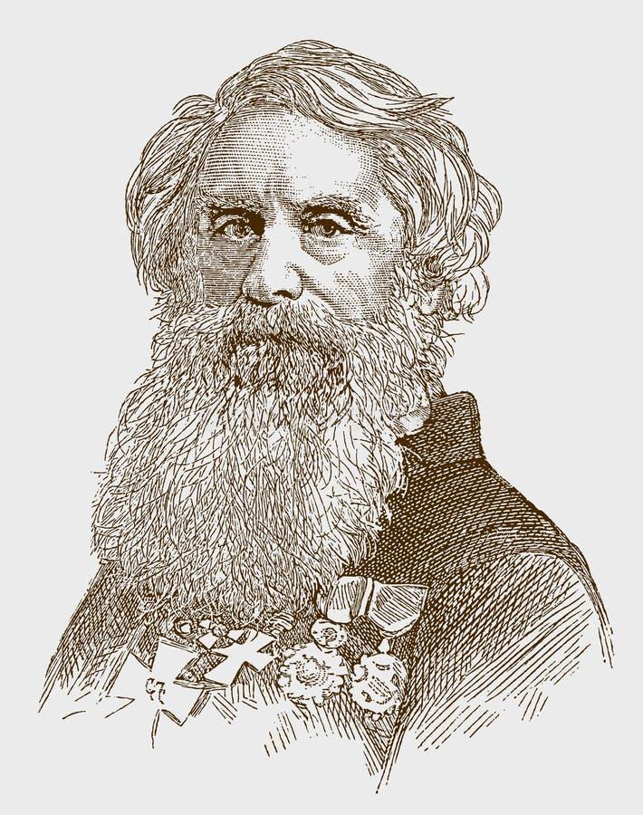 Retrato histórico de Samuel Finley Breese Morse el famoso inventor y pintor americano ilustración del vector