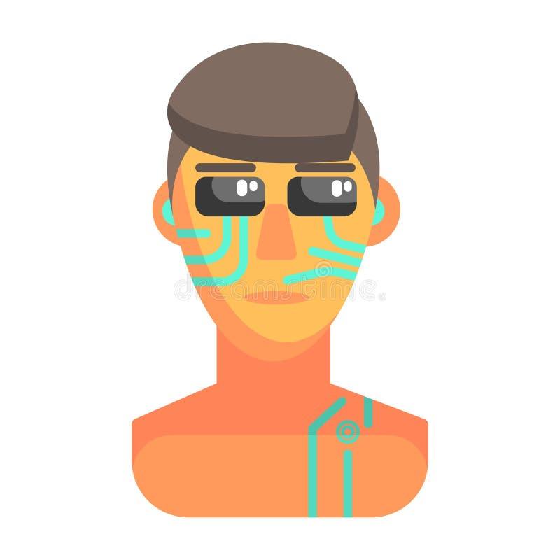 Retrato humanizado com elementos eletrônicos, parte de Android da série futurista robótico e da TI da ciência de ícones dos desen ilustração royalty free