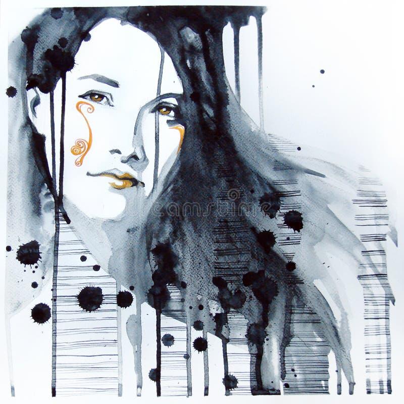 Retrato ilustrado da menina bonita ilustração royalty free