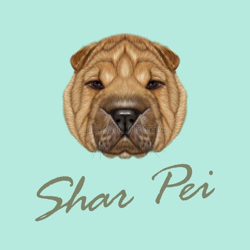 Retrato ilustrado vector del perro de Shar Pei ilustración del vector