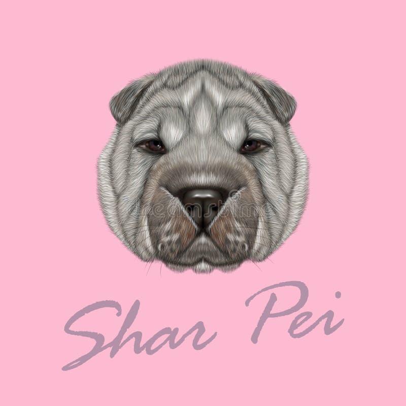 Retrato ilustrado vector del perro de Shar Pei stock de ilustración