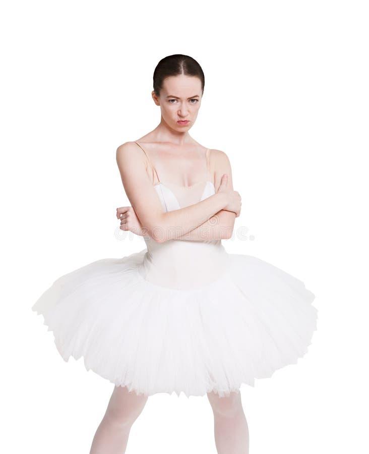 Retrato impertinente irritado da bailarina isolado no fundo branco imagem de stock royalty free
