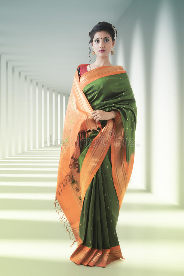 Retrato indiano da senhora no saree foto de stock royalty free