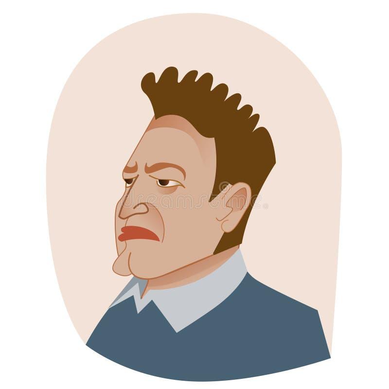 Retrato infeliz do avatar do chefe grande ilustração do vetor