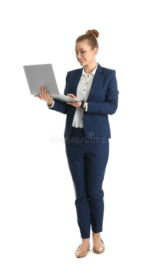 Retrato integral de la empresaria joven con el ordenador portátil fotos de archivo libres de regalías