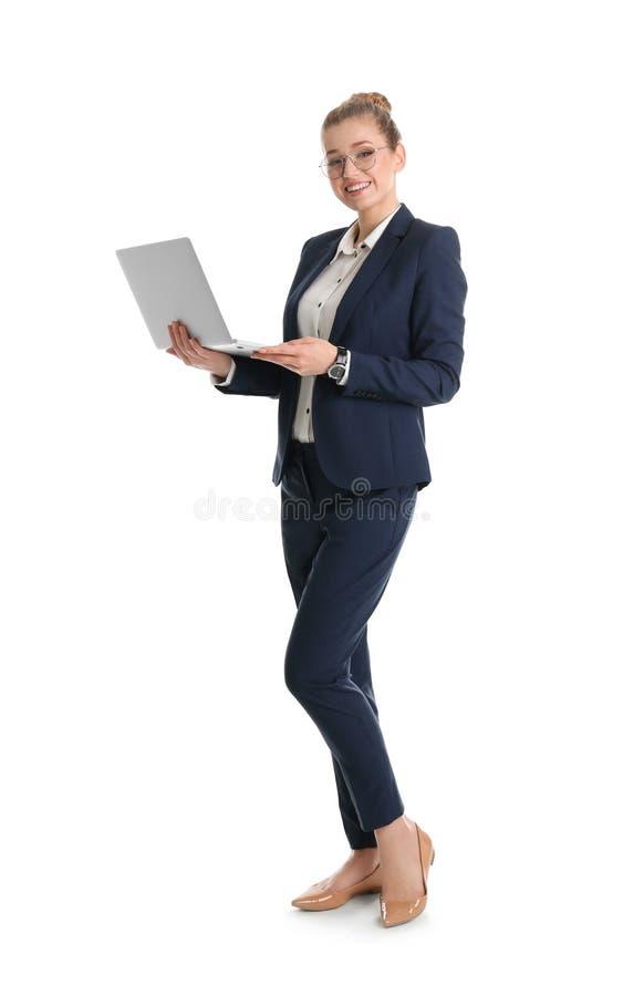 Retrato integral de la empresaria joven con el ordenador portátil foto de archivo
