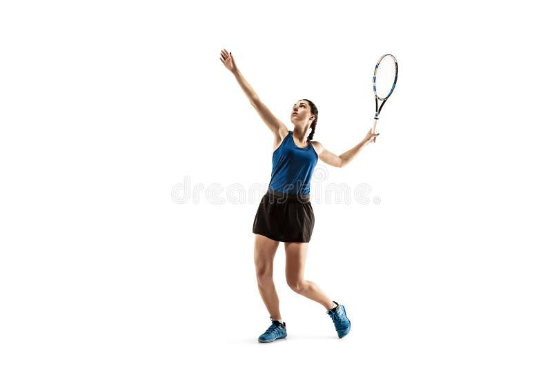 Retrato integral de la mujer joven que juega a tenis aislado en el fondo blanco fotos de archivo libres de regalías