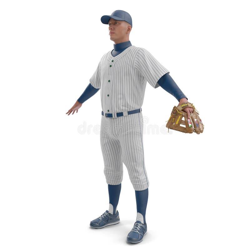 Retrato integral de un jugador de béisbol de sexo masculino en blanco ilustración 3D fotografía de archivo
