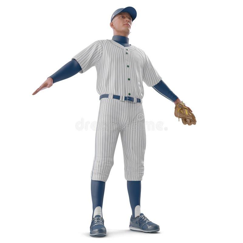 Retrato integral de un jugador de béisbol de sexo masculino en blanco ilustración 3D imagen de archivo