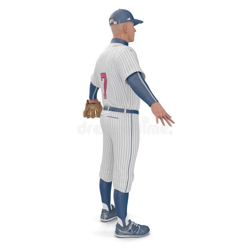 Retrato integral de un jugador de béisbol de sexo masculino en blanco ilustración 3D fotografía de archivo libre de regalías